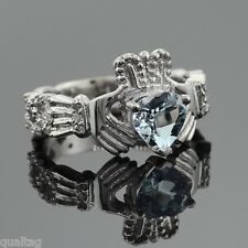 White Gold Diamond Claddagh Ring 0.40 Carats with Heart Aquamarine Center Stone