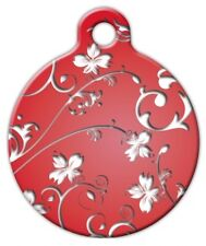 RED FLOWERS - Custom Personalized Pet ID Tag for Dog and Cat Collars