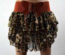 Hot Fashion Leopard Pleated Chiffon Women's Cute Bow-knot Mini Skirt Size S-XL