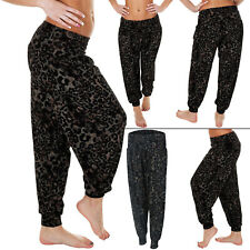 Womens Ladies Ali Baba Black Animal leopard Print Harem Trousers Pants Size 8-14