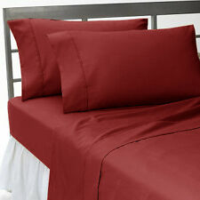 BURGUNDY SOLID COMPLETE USA BEDDING 1000TC 100% COTTON CHOOSE SIZE AND ITEMS