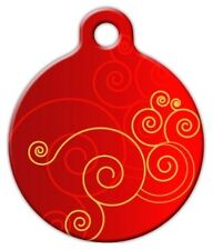 RED SWIRL - Custom Personalized Pet ID Tag for Dog and Cat Collars
