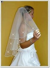 "2T White / Ivory Wedding Prom Bridal Elbow Veil With Comb 31""-Swarovski Crystals"