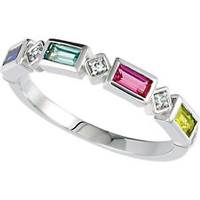 Mothers Stackable Silver Ring 4 Baguette Birthstones, Mom's family Jewelry