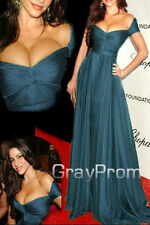 Sumer Celebrity Star Pleats Off Shoulder Low-cut Prom Formal Party Evening Dress