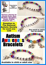 Autism Awareness Bracelets-*Charity Items for NAS*-Personalised with name/charm