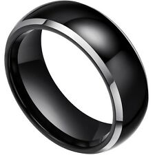 Tungsten Carbide Ring Silver Lines High Polished Dome Shape Men Women