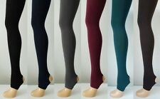 150 Denier Thick Opaque Stirrup Tights in Black,Gray,Brown,Navy,Burgundy,Green