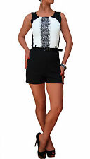 LADIES NEW PLAYSUIT JUMPSUIT LACE TOP SHORTS BELTED WHITE CORAL BLACK 8 10 12 14