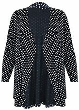 Womens Ladies Spot Print Long Sleeve Polka Dot Open Knit Cardigan Top Plus Size