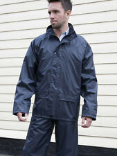 MENS HOODED RAIN SUIT WITH STORM WATER PROOF NAVY JACKET OVER TROUSER CARRY BAG