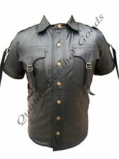 100% Pure Nappa Genuine Leather Shirt Fancy Costume Wear With Brass Poppers