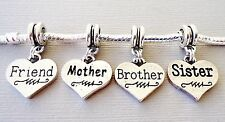 Silver tone Pendant Family Heart for European Charm Bracelet and Necklace. C74