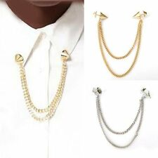 Collar Brooch - Silver Gold Black - Rivets Stud Tips Shirt Necklace Pin Over Tie