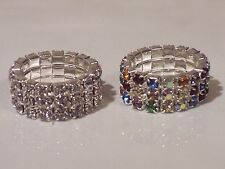 Three Row - Multi-colored or Clear -Stretchy - Crystal / Rhinestone Ring - U64