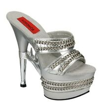 Silver and Chrome Sexy High Heels With Chains Silver Platform Hot Sexy Shoes