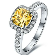 Halo Style Cushion 3 Carat Yellow Classic Princess Cut SONA  Diamond  Shape ring