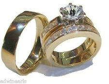Yellow & White Gold Overlay His & Hers 3 Piece Engagement Wedding Ring Set