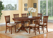 7 PC OVAL DINETTE DINING ROOM SET TABLE AND 6 UPHOLSTERED SEAT CHAIRS