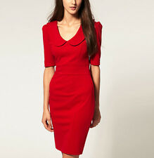 2013 New Women Casual Career Wear Peter Pan Collar Pencil Dress S M L Red