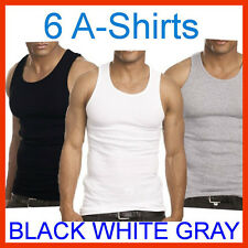 6 Mens A-Shirt 100% Cotton Ribbed Tank Top Wife Beater Athletic Undershirt