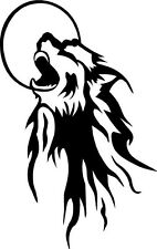 vinyl decal sticker wolf howling at moon dog pack night woods window art 815 +