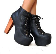 NEW JEFFREY CAMPBELL LITA SHOES BLACK LEATHER ANKLE BOOTS WOODEN HEEL PLATFORM