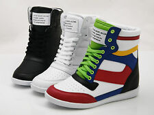 """NEW Womens Sporty Sneakers High Top Wedge Ankle Hidden Heel 2.75"""" Shoes Multi"""