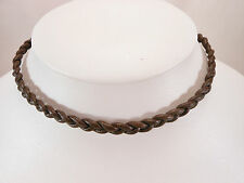 Black or Brown Leather Braided Unisex Cord Surfer Choker Necklace- Made in USA