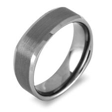 Men's Tungsten 7mm Gun Metal Gray Square Band | High Shine Sides Brushed Centre