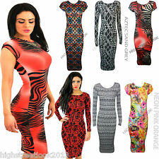 Womens Ladies Cap Sleeve Leopard Aztec Floral Animal USA Bodycon Midi Dress 8-14