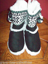 WOMENS SLIP ON FUR BOOTIE SLIPPER HAS A RUBBER SOLE FOR TRACTION  W/ TASSLES