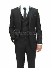 MENS 3 PIECE BLACK DESIGNER REGLUAR FIT SUIT IDEAL FOR WEDDINGS/ SCHOOL PROMS