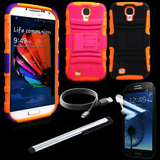 4 in 1 Cable Screen Stylus Charger + Hybrid Samsung Galaxy S4 Stand Rugged Case