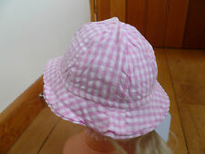 JO JO MAMAN BEBE PINK GINGHAM COTTON STRAPPED SUMMER SUN HAT BABY 3 TO 6 MONTHS