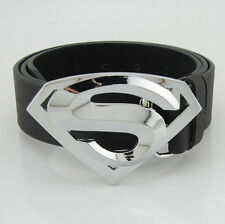 Classic New Silver Superman Superhero Western Mens Metal Belt Buckle Leather