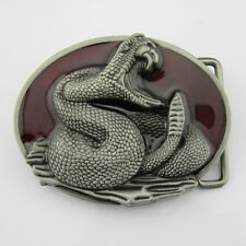 Western Cowboy New 3D Cobra Snake Silver Red Mens Metal Belt Buckle Leather Cool