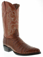 Men's crocodile alligator exotic brown leather cowboy boots biker small belly