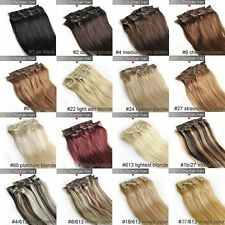 """15""""18""""20""""22""""24""""26""""28"""" 7PCS Clip In Real Remy Human Hair Extensions 70g 100g 120g"""