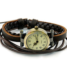 Womens Ladies Retro Weave Wrap Leather Bracelet Bangle Style Quartz Wrist Watch