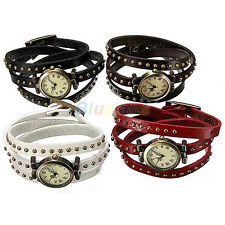 Retro Rivet Stud Leather Weave Strap Bronze Quartz Dial Bracelet Wrist Watch New