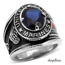 Men's Stainless Steel 316 Simulated Sapphire US Marines Military Ring Size 7-14