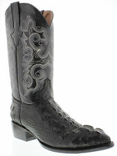 Men's crocodile alligator exotic black leather cowboy boots biker hornback