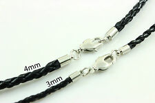 "3-4mm 14""-30"" Black Genuine Leather Cord Mens Necklace Twist Chain Stainless ste"
