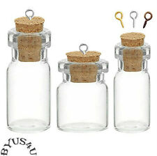 GLASS BOTTLE VIAL CORK size choice AMULET CHARM WICCA POTION MEMORY STORAGE 10pk
