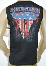 NWT THROWDOWN AFFLICTION men RIOT sleeveless MMA graphic TANK black AMERICA FLAG