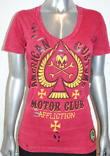 NWT AFFLICTION womens DEAD SPADE ss embellished DISTRESSED baby Vneck Tee *S, M