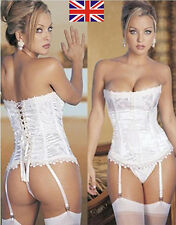 Hot Sexy Lady Boned Bustier Corset Dress Basques+Garters+Lingerie/G-string S-3XL