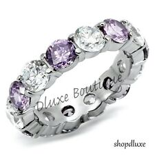 Women's Stainless Steel Amethyst & Clear CZ Eternity Wedding Ring Band Size 5-10