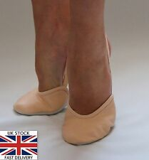 New Rhythmic Gymnastics Leather Beige / Nude Toe Half Shoes Lyrical Dance Shoes